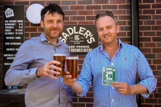 Conservation Manager Simon Atkinson toasting the new beer with Sadler's Director, Chris Sadler