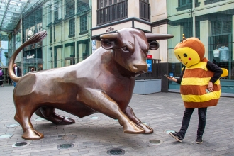 Our human size bee meets the Birmingham Bull