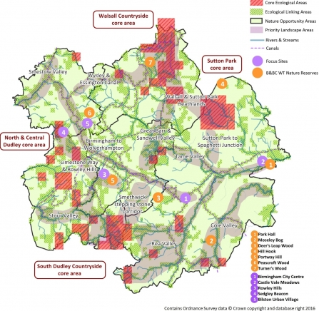 Map of birmingham & Black Country Nature Improvement Area