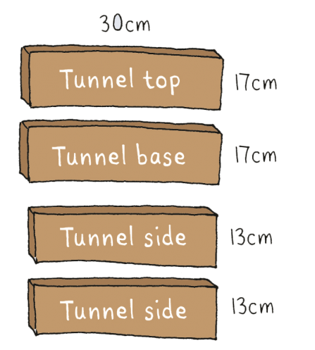 Build a hedgehog house tunnel dimensions illustration