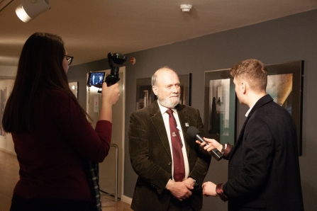 Vice-President of Trust and guest judge Peter Shirley being interviewed by Made in Birmingham TV